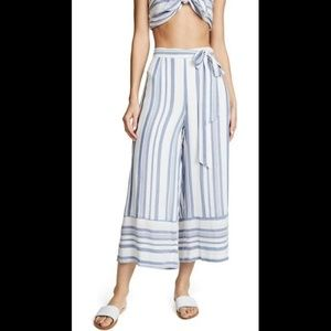Lost + Wander Blue and White Stripe Capri Pants